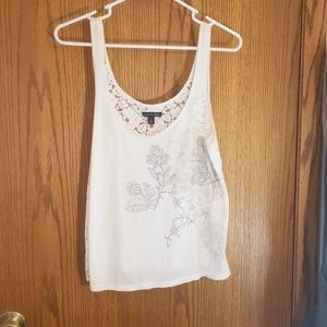 Off-white tank top with lace back